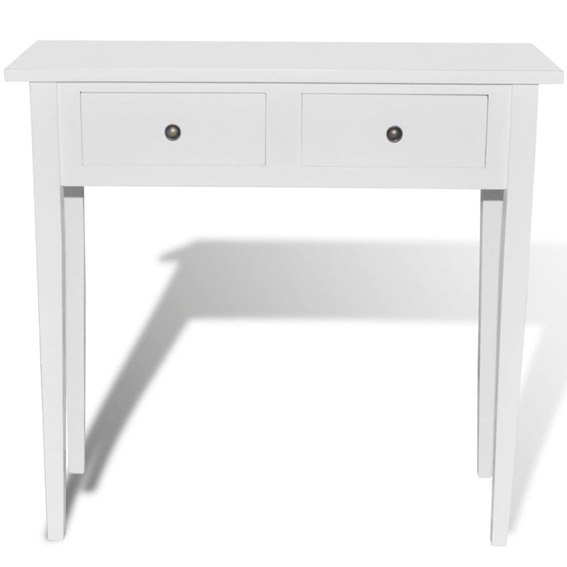 Dressing Console Table with Two Drawers - White