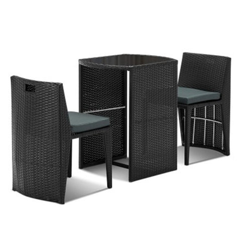 3-piece PE Wicker Outdoor Table and Chair Set FF-CT17029-BISTRO-BK