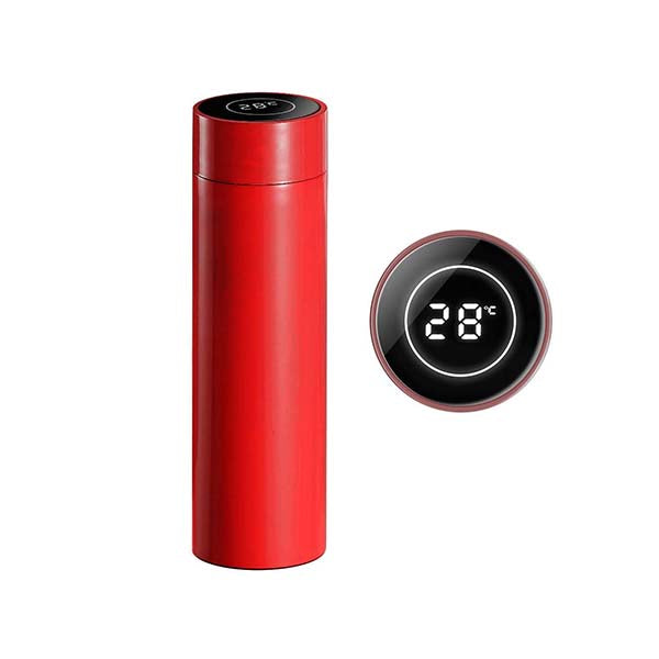 Soga 500Ml Stainless Steel Lcd Thermometer Display Flask Thermos Red