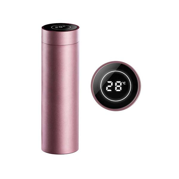 Soga 500Ml Stainless Steel Lcd Thermometer Display Flask Rose Gold