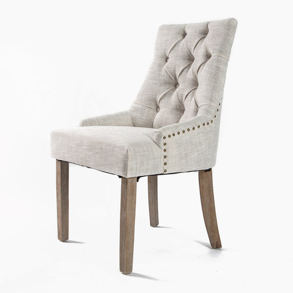 1X French Provincial Oak Leg Chair AMOUR - CREAM
