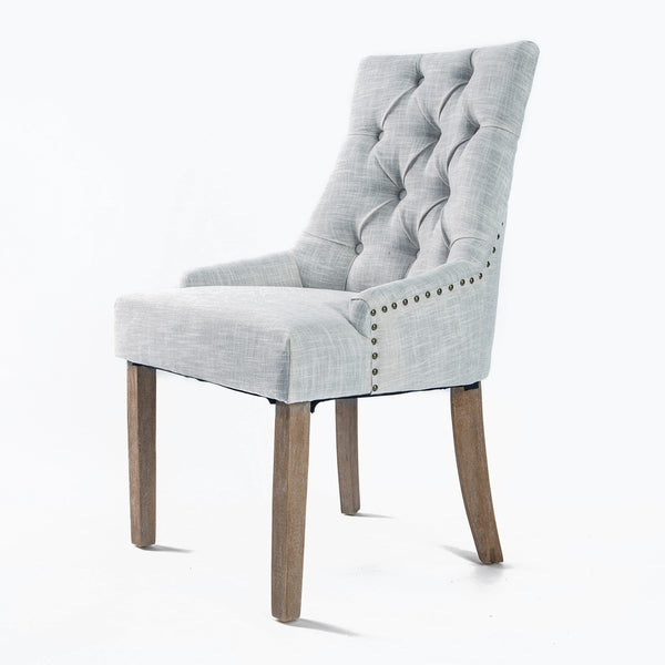 1X French Provincial Oak Leg Chair AMOUR - GREY