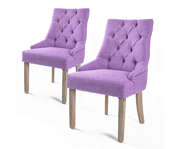 French Provincial Oak Leg Chair AMOUR (2 Pcs) - Violet