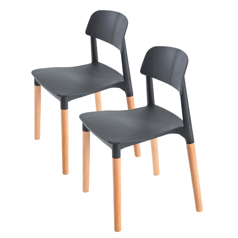 Belloch Stackable Dining Chairs (2 Pcs) - Black