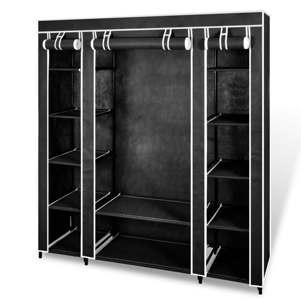 Fabric Cabinet with Compartments - Black