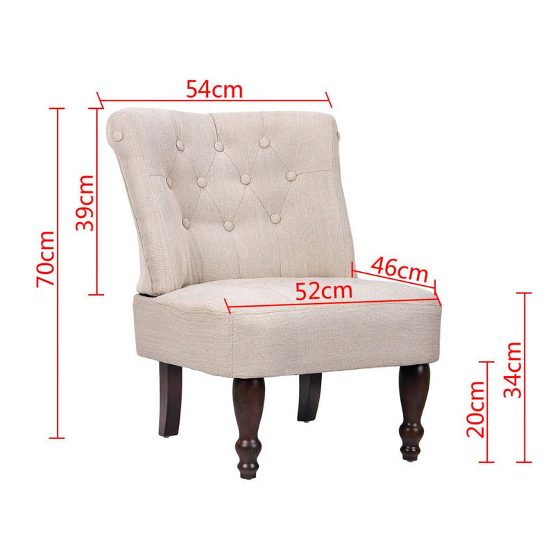 Fabric French Chair - Cream