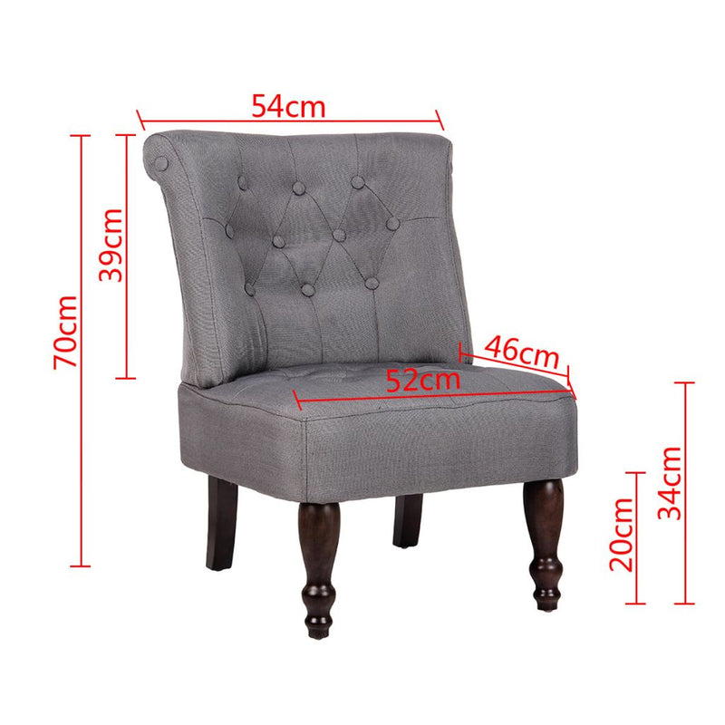 Fabric French Chair - Grey