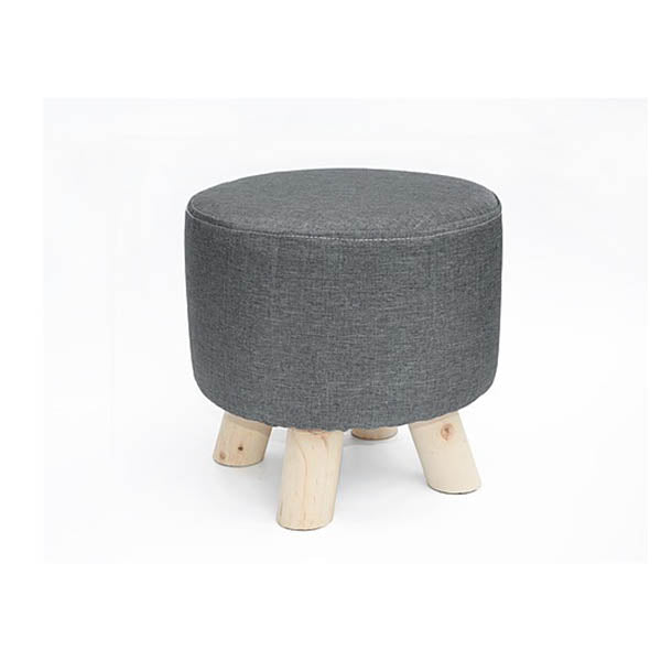Fabric Ottoman Footstool Rest Pouffe Wood Storage Padded Seat
