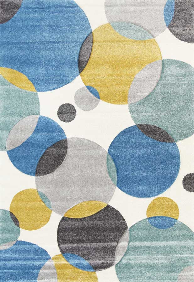 Focus Circles Blue and Pastels Rug