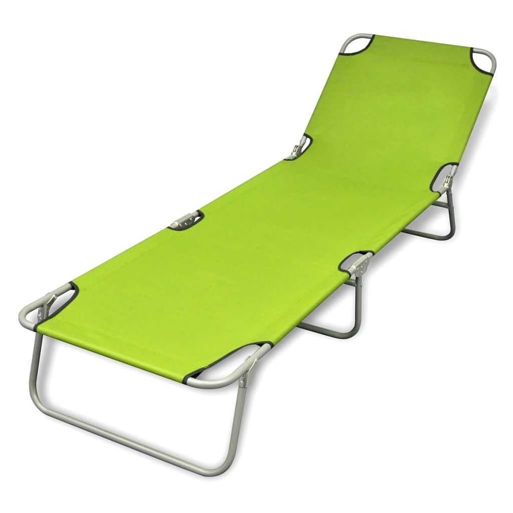 Fold-able Sun Lounger With Adjustable Backrest - Apple Green