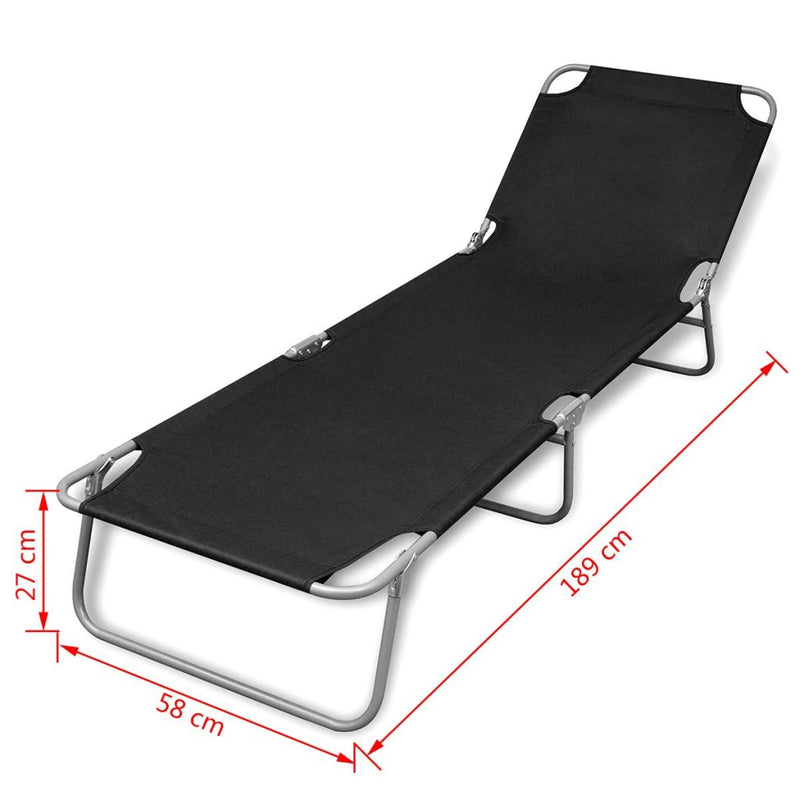 Fold-able Sun Lounger With Adjustable Backrest - Black