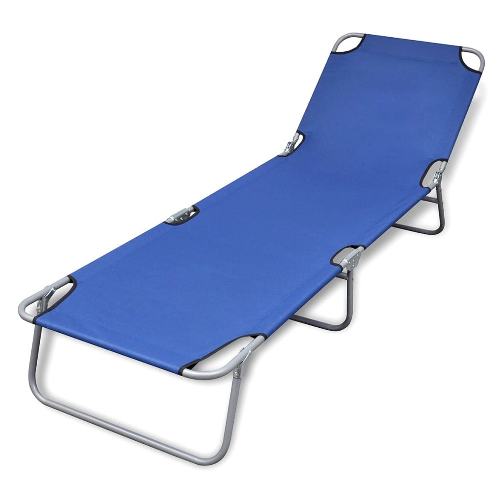 Fold-able Sun Lounger With Adjustable Backrest - Blue