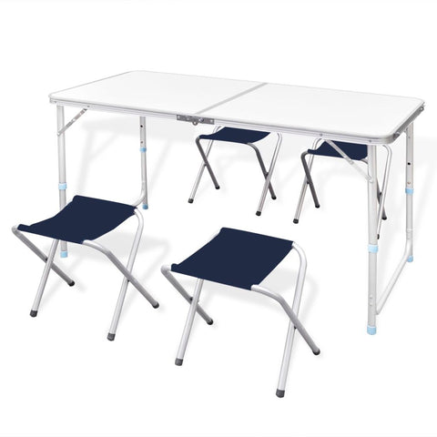 Foldable Height Adjustable Camping Table Set with 4 Stools