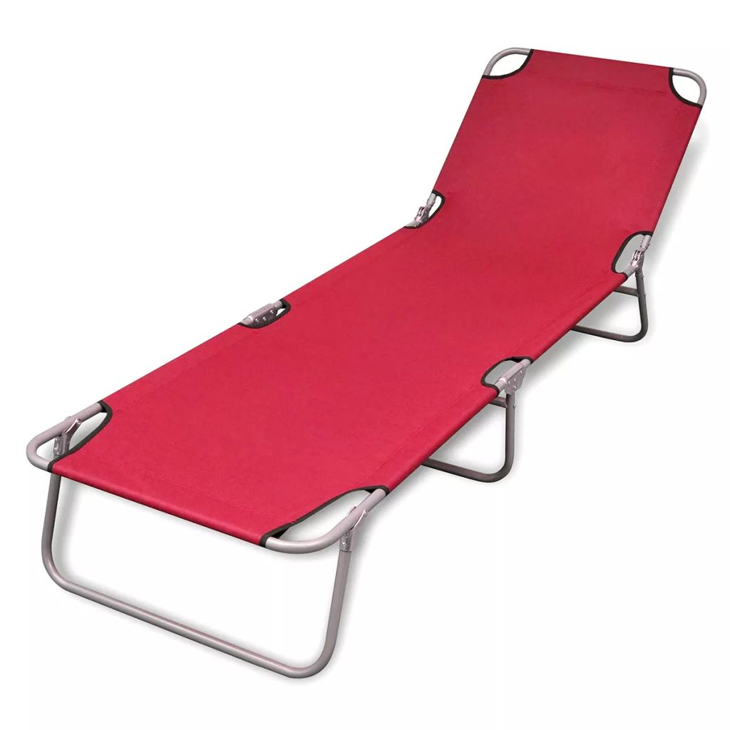 Foldable Sun Lounger With Adjustable Backrest - Red
