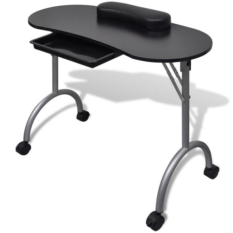 Folding Manicure Nail Table with Castors - Black