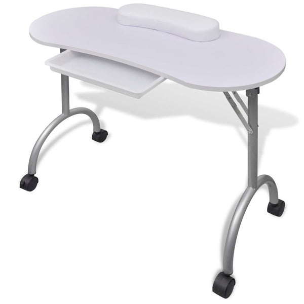 Folding Manicure Table with Castors - White