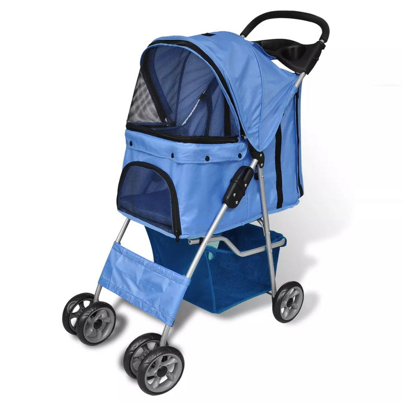Folding Pet Stroller Travel Carrier For Dog / Cat - Blue