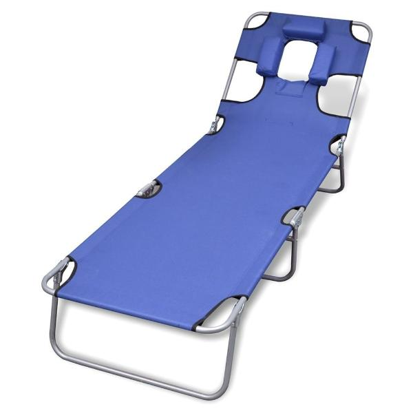 Folding Sun Lounger With Head Cushion and Adjustable Backrest - Blue