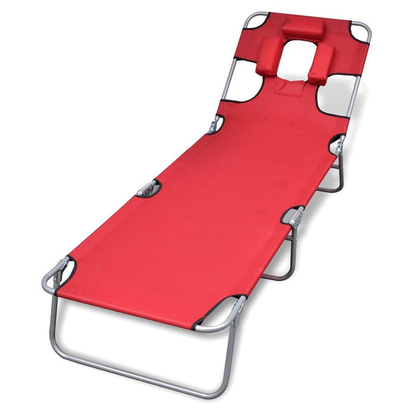 Folding Sun Lounger With Head Cushion and Adjustable Backrest - Red