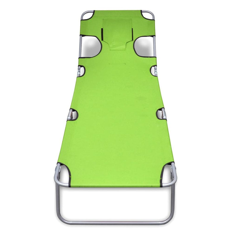 Sun Lounger With Head Cushion and Adjustable Backrest - Apple Green