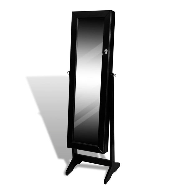 Free Standing Mirror and Jewellery Cabinet - Black