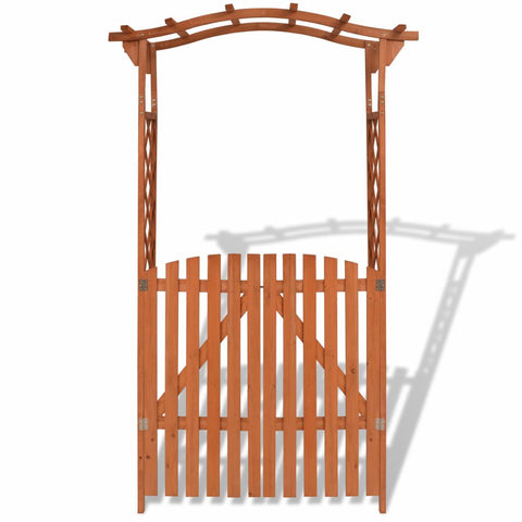 Garden Arch With Gate Solid Wood 120 x 60 x 205 Cm