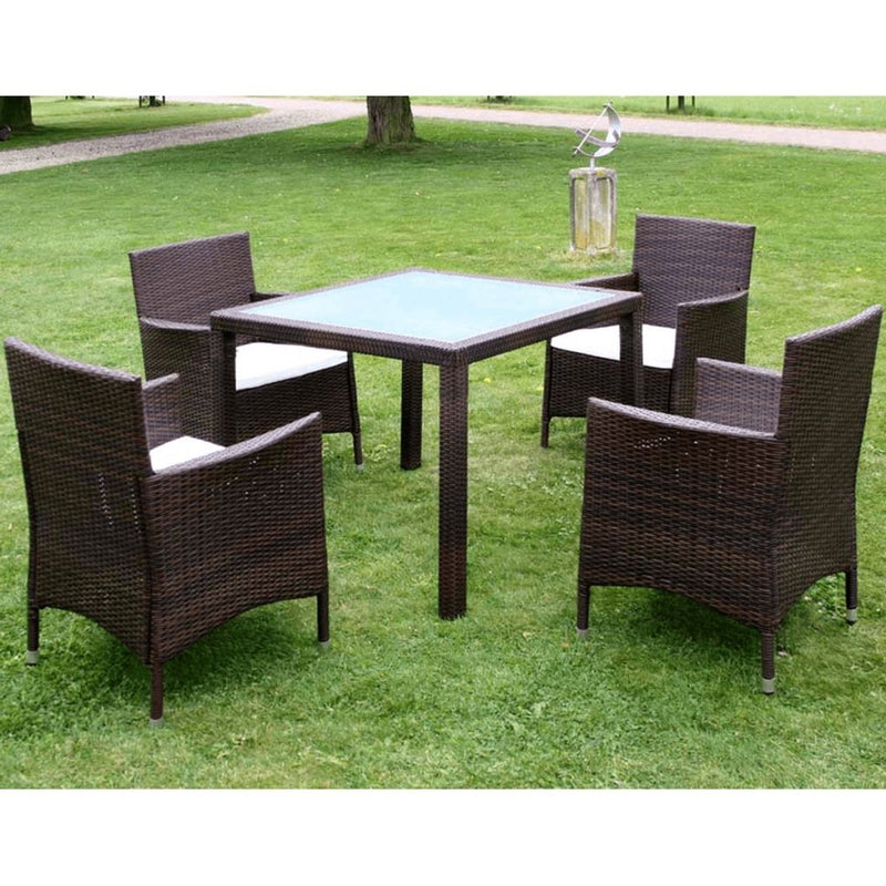 Garden Furniture Poly Rattan Set (9 Pcs) - Brown