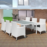Garden Poly Rattan Dining Set (13 Pcs) - Cream White
