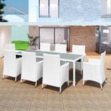 Garden Poly Rattan Dining Set (17 Pcs) - Cream White