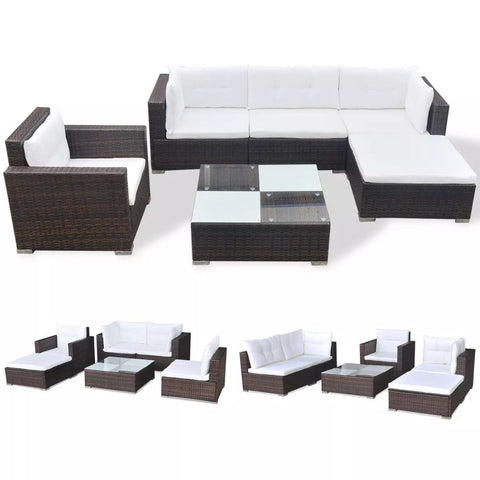 Garden Sofa Poly Rattan Set (17 Pcs) - Brown