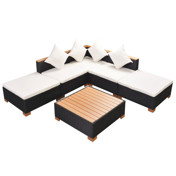 Garden Sofa Rattan Poly Wood Top Set (15 Pcs) - Black