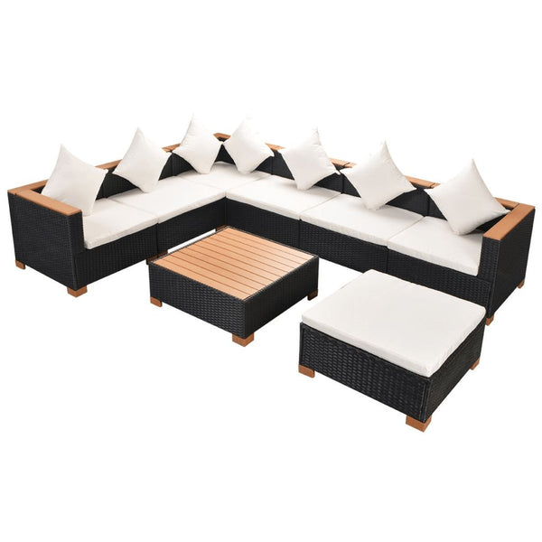 Garden Sofa Rattan Poly Wood Top Set (22 Pcs) - Black