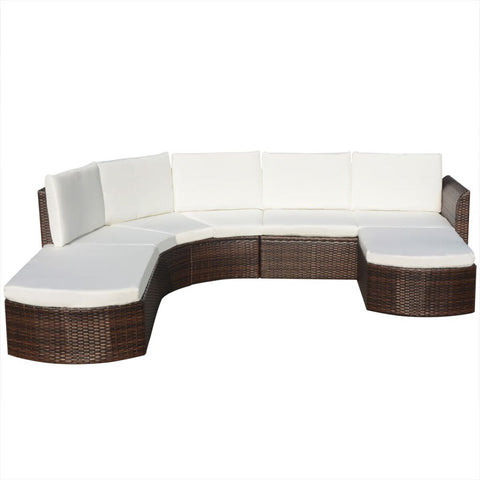 Garden Sofa Poly Rattan Set (16 Pcs) - Brown