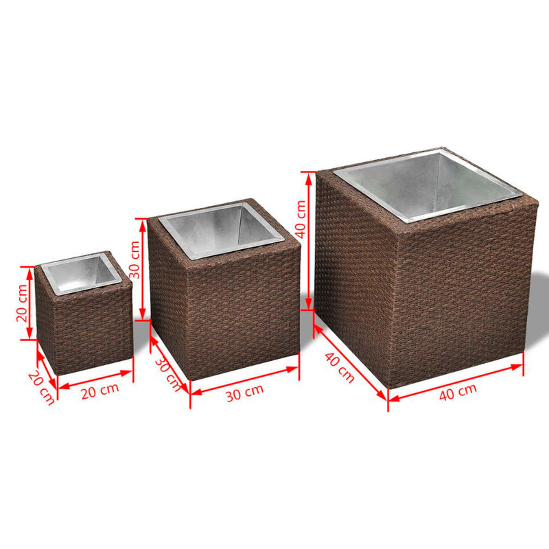 Garden Square Rattan Planter - Brown (Set Of 3)