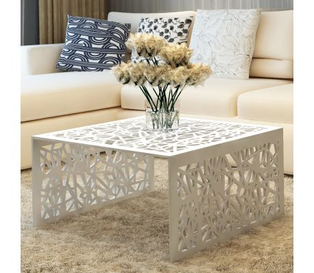 Geometric Design Aluminum Coffee Table - Silver
