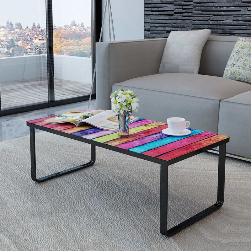 Glass Coffee Table With Rainbow Print