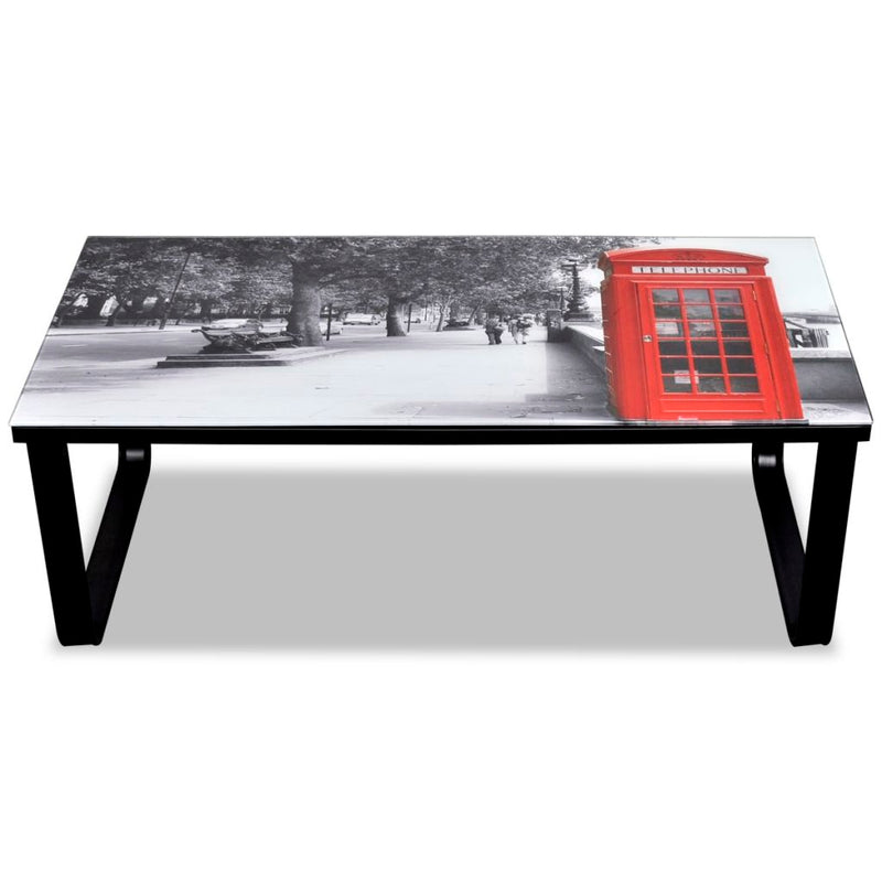 Glass Coffee Table With Telephone Booth Print