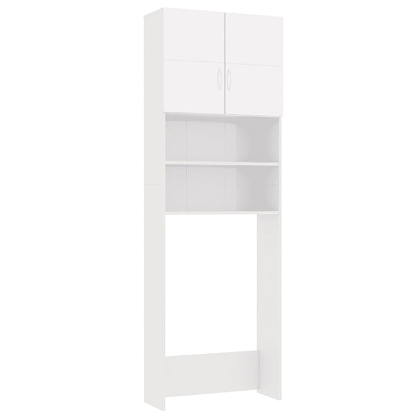 Glossy White Chipboard Cabinet for Washing Machine