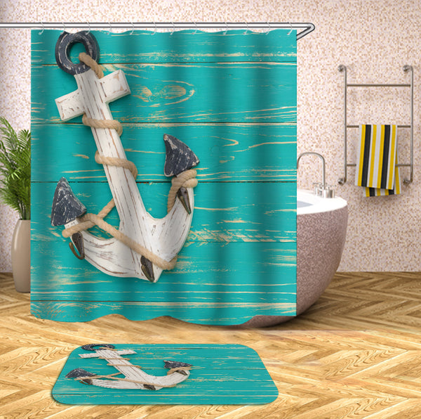 Shower Curtain Of Anchor On Turquoise Deck