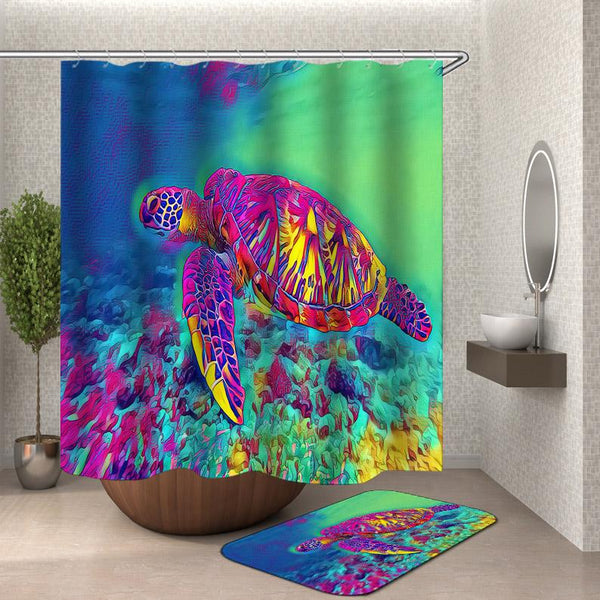 Colorful Shower Curtains - Psychedelic Colored Turtle Shower Curtain