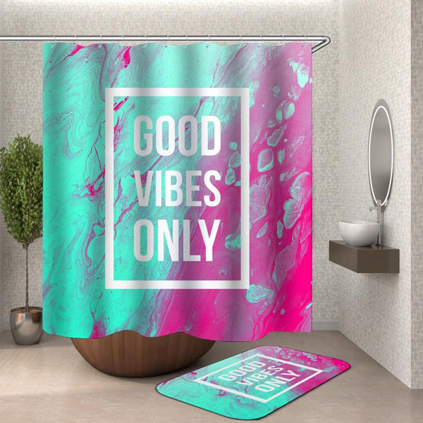Good Vibes Turquoise and Coral Shower Curtain
