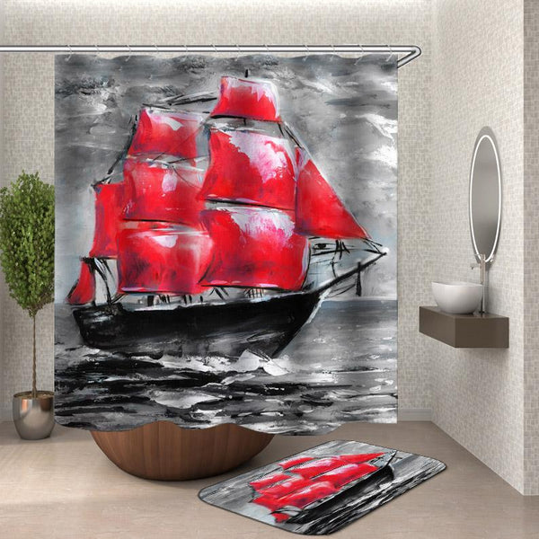 Ship Shower Curtains - Black and Red Art Painting Ship