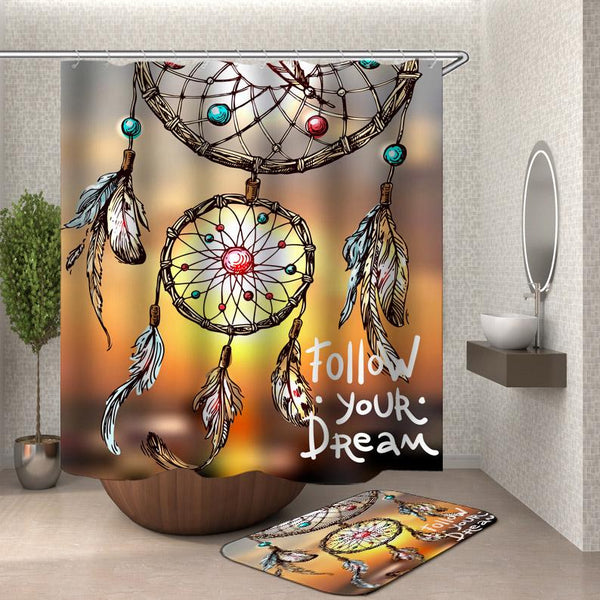 Dream Catcher Quote Shower Curtain - Inspirational Shower Curtain