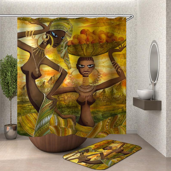 African Shower Curtain of African Tribal Ladies Shower Curtain and Bath Mat
