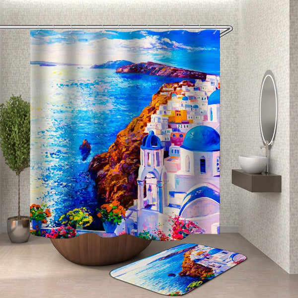 Coastal Shower Curtain - Painted Moroccan Coast