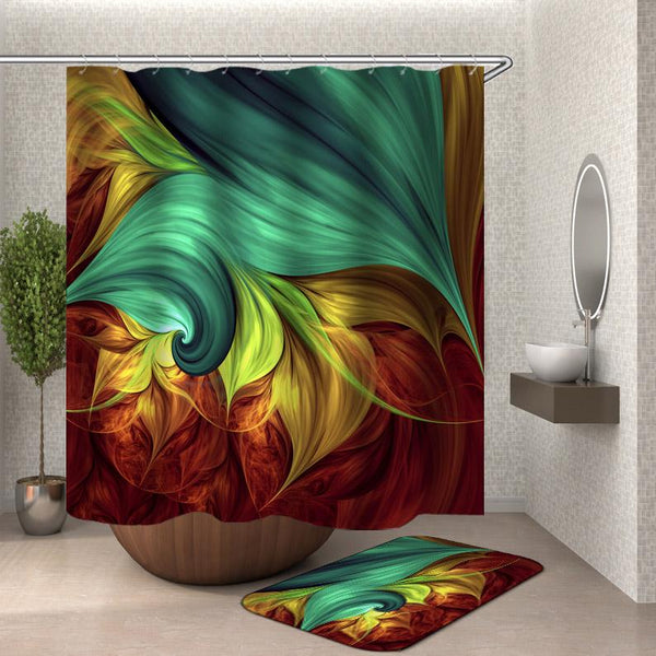 Abstract Painting Multi Colored Digital Flames Shower Curtain