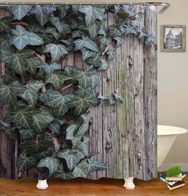 Green Leaves on Old Wood Wall Shower Curtain