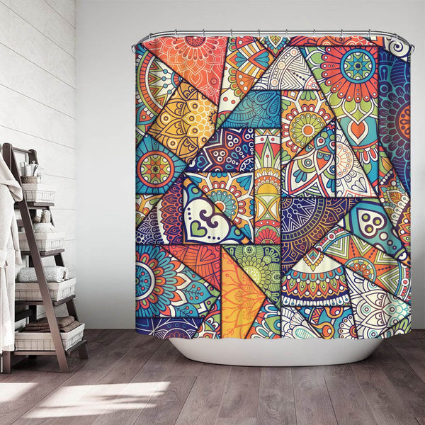 Colorful Mandala Pieces Shower Curtain