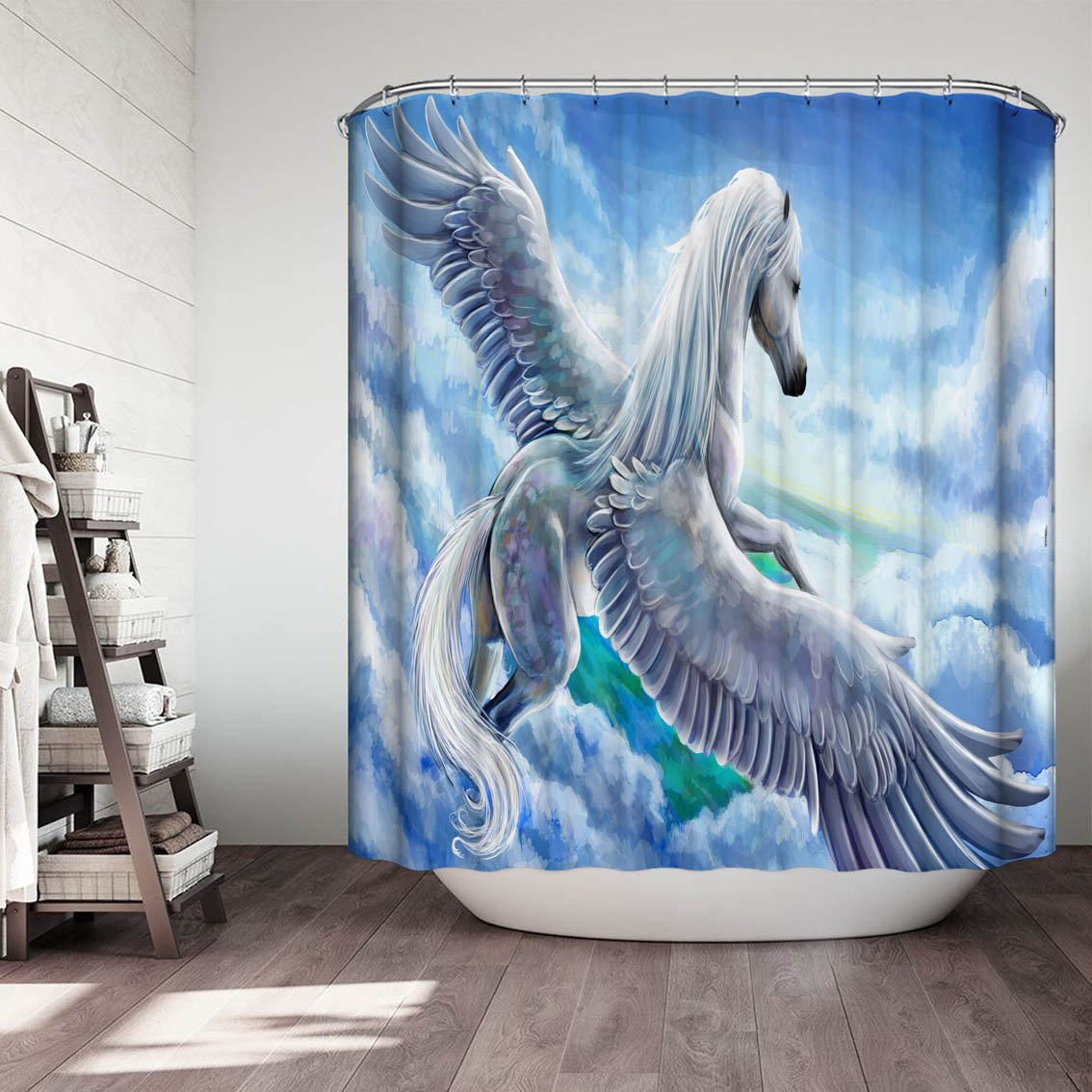 Flying Angel Horse Shower Curtain