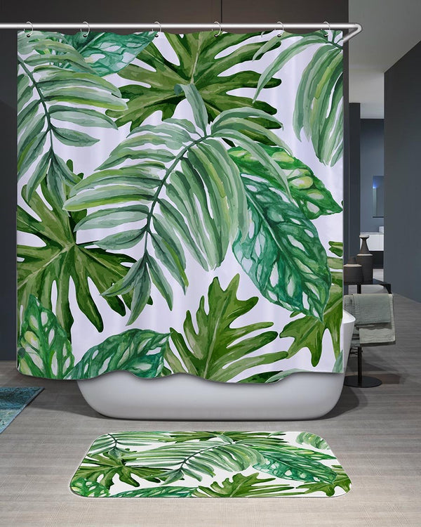 Painted Palm Leaves Shower Curtain